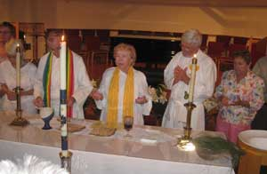 Married priest couples and a bishopess do an Easter Vigil liturgy